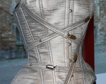 23 inches Silver Grey PVC overbust boned cinched corset with chrome buckles and PVC straps detail
