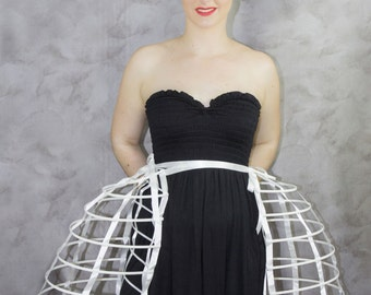 Two pieces worn together double pannier white ribbon and lacing Crinoline long cage hoop bustle