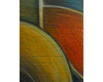 Fine art abstract painting on wood, original ACEO, mondrianesque modern art