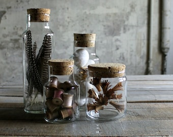 4 Vintage Apothecary Jars with Cork Lids