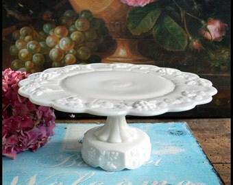 Vintage Milk Glass Cake Stand / Westmoreland Paneled Grape Cake Stand / Milk Glass Wedding