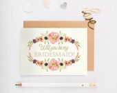 Cute Will You Be My Bridesmaid Cards - Will You Be My Matron, Maid of Honor, Bridesmaid, Bridesmaid Proposal - Wreath Two