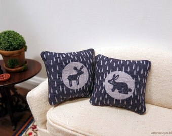 Woodland bunny and moose pillows - set of two - dollhouse miniature