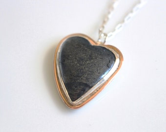 Stone Heart Necklace / Hematite Stone with Rose Gold Necklace / Black Heart Shaped Necklace Rose Gold Accent Necklace / One of a kind