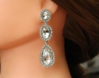 Crystal Bridal Earrings, Teardrop Wedding Earrings, Long Chandelier Rhinestone Earrings, Vintage Style Silver Earrings, Wedding Jewelry