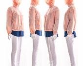 Vintage Rare 80s Avant Garde Raincoat High Neck High Collar Pink Rain Jacket Drape Pleating Sheer FUTURISTIC Jacket Small Medium