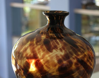 Amber & Brown Swirled Vase