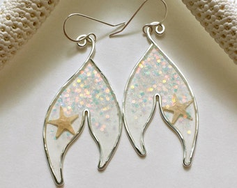 Glitter Mermaid Tail, Mermaid Tail Earrings, Real Starfish Earrings, Glitter Resin Earrings, Siren of the Sea, Resin Hoop Earrings