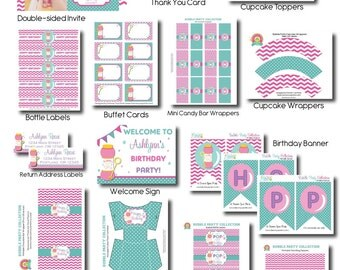 Bubble Party Package - Girls Bubble Party - Girls Birthday Invitations - Bubble Party Invitation - Bubble Birthday Party - Bubble Party Kit