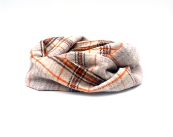 Warm Winter Scarf -  Tan - Winter Scarf Set - Plaid Flannel Scarf - Adult Size Available
