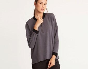 Women dark grey loose fit shirt, zipper shirt, Cotton shirt, dark grey Shirt, Long Sleeve Blouse, winter top, scoop neck