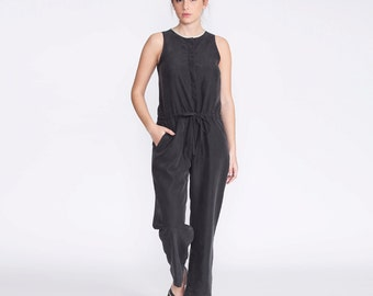 Women Jumpsuit, black, rompers, fitted overall, tailored jumpsuit, buttoned down, elegant, summer jumpsuit, women pants,