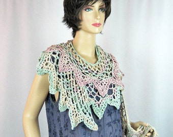 Ruffled Scarf, Crocheted, Pink Beige, Mint Green, Ultra Suede Ribbon, Luxurious, Handmade, Collar, Wrap, Extra Long, Shawlette, Pastel Tones