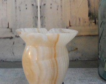 Vintage Natural Carved ONYX Stone ~Small vase display piece ~from Solid Onyx Stone