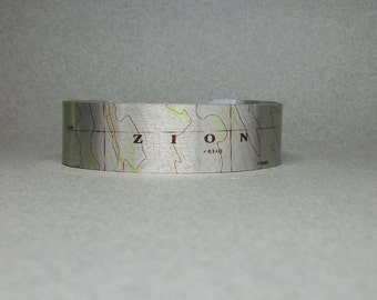 Zion National Park Utah Map Cuff Bracelet Unique Hiking Gift for Men or Women