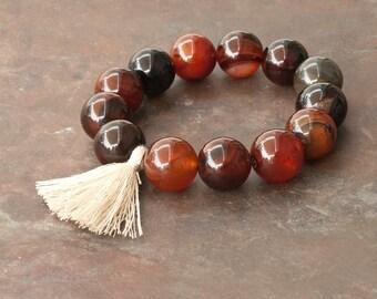 Fancy Agate Bracelet, Mala Bracelet, Tassel Boho Bracelet, Stacking Bracelet, Yoga Jewelry, Meditation Bracelet, Gemstone Mala Bracelet