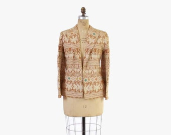 Vintage 50s Ethnic JACKET / 1950s Woven Guatemalan Cotton Novelty Animal Pattern Jacket S