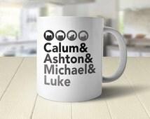5SOS Mug | 5 SOS Fan Gift | Coffee Mug | Teen Girl Gift | Band Member Names | Calum, Ashton, Michael, Luke | Tween Gift | Helvetica &