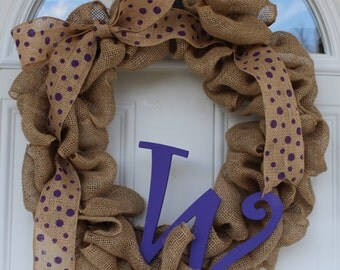 Monogram burlap wreath, initial wreath, burlap wreath, door wreath, outdoor wreath, front door wreath, spring wreath, monogrammed wreath