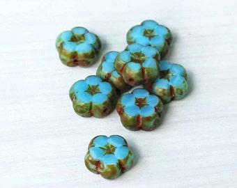 6 Czech Glass Beads 10mm Flower Opaque Turquoise Tones - CB52