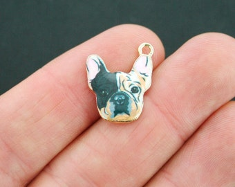 2 French Bulldog Charms Plated Enamel Just Adorable - E150