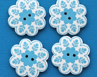 4 Large Wood Buttons Daisy Floral Design 37mm - BUT321