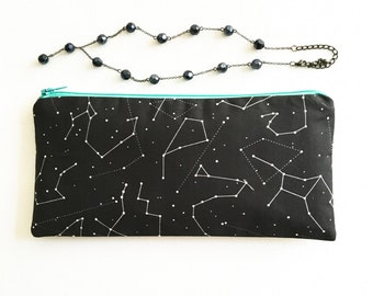 Black Zodiac Gift for Her, Womens Zodiac Accessory Pouch, Black Pencil Pouch, Womens Organizer Bag, School Supply Pouch, Zipper Pouch
