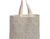 Maxi canvas bag screen printed with small polka dots