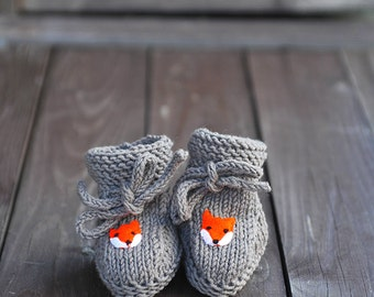 Newborn Baby Girls Boys Knitted wool Socks Baby Stay-On Lace up Booties neutral grey brown felt Fox applique woodland gift 0-3-6-9-12 months
