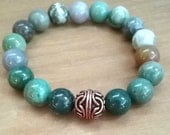 Fancy Jasper Stone Bracelet with Copper Bead / Rainbow Jasper / Stretchy / Crystal Bracelet  / Energy Jewelry