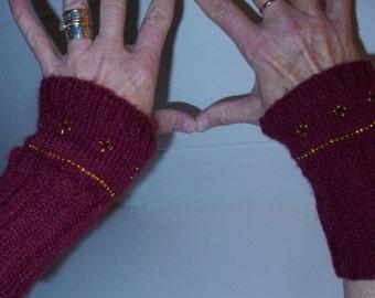 Burgundy Beaded Handmade Wrist Warmers Fingerless Gloves Hand Warmers