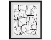 Fine Art Print, Black Line, Pen and Ink, Ink Drawing, Original Abstract Art, Black, White, Abstract Factory, Original Abstract GICLEE Print