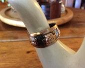 Vintage Peruvian 18k Gold Sterling Silver Adjustable Ring Folk Art