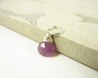 Genuine Ruby Birthstone Charms - Natural Ruby Pendant - Sterling Silver Charms - 14k Gold Wire Wrapped Jewelry - Natural Stone Jewelry