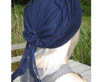 Beanies, Bohemian Clothing Slouchy Hat Oversized Tam Women's Rose Back Linen Cotton Beaded Leather Tie Top Knit Hat Denim Blue Heather A1866