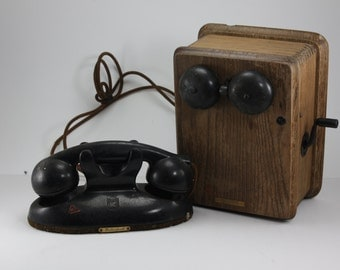 Antique Crank Telephone Kellogg And Masterphone Table Handset Oak Box Bakelite Phone