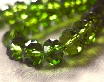"8mm Emerald Green Faceted Crystal Rondell Beads, 8mm x 6mm, 8"" long, 35-36 pieces"