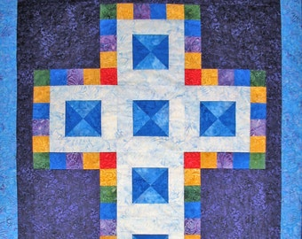 Cross Wall Hanging, Christian, Jewel Tones, Christian,  quilted