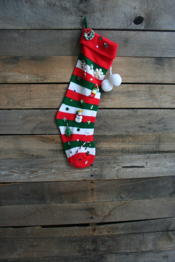 White, Green & Red Striped Christmas Stocking