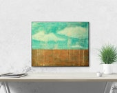 """Sale! 11x14"""" Impressionist Painting, Landscape Painting, Original Abstract Art Painting, Contemporary Art, Turquoise, Copper, Teal """"Showers"""""""
