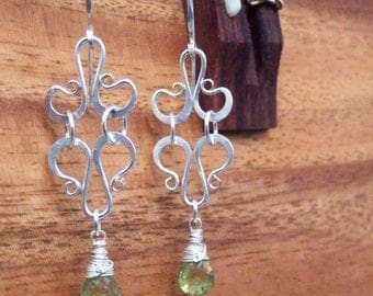 Sterling Silver Earrings with Green Tsavorite Garnet, Hand Forged by JeanineDesigns of Recycled Silver, Bohemian Earrings