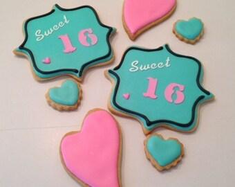 Sweet 16 Birthday Cookies, Decorated Cookie Favors - 1 dozen