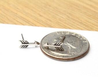 Small Sterling Silver Arrow Earrings Tiny Stud Earrings 4x10mm