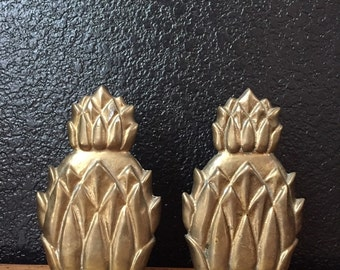 pair of heavy mid century modern solid brass pineapple bookends / set