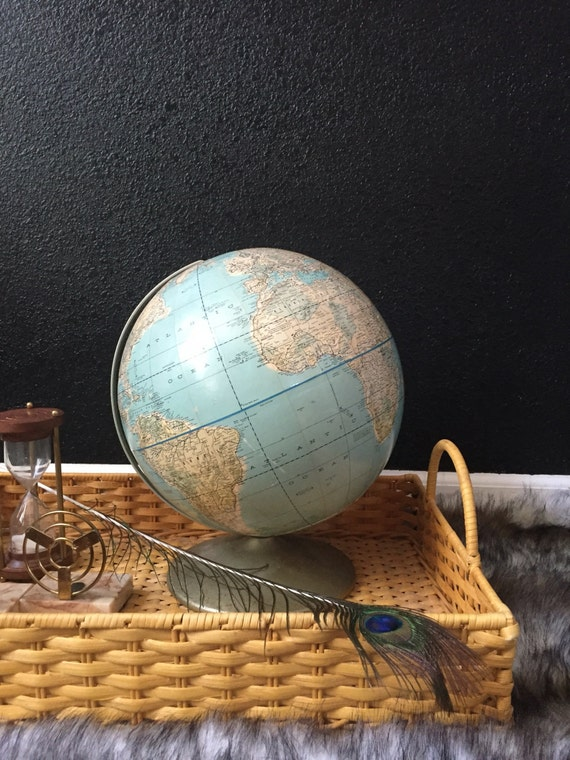 s a l e / vintage white blue rand mcnally world globe // 12 inch // multicolored
