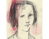 Tina Girl portrait drawing original people figurative pencil
