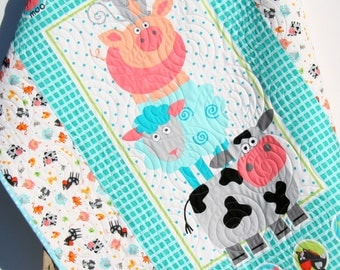 Farm Quilt, Baby Boy or Girl, Ranch Animals, Pig Sheep Cow Horse Rooster Chicken Dog, Country Life, Aqua Blue Coral Black Gender Neutral