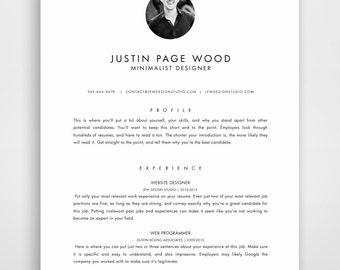 Resume With Photo, Resume Template Mac, CV Design, Resume Template Modern,  Word  Cv Document