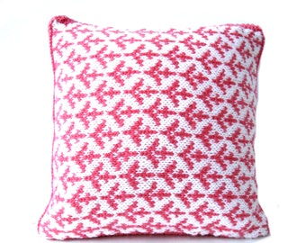 Fair Isle cushion / throw pillow , hand knit cushion , valentine cupid arrows , modern trendy home decor , gift for her , ready to ship ,