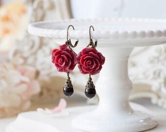 Dark Red Earrings, Maroon Burgundy Marsala Flower Black Teardrop Pearl Dangle Earrings Wedding Jewelry Bridesmaid Gift Valentines day gift
